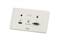 VE2812EUT — Передатчик HDMI и VGA HDBaseT с монтажной панелью EU (4K@100м / 1080p@150м)
